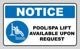 Pool and spa lift for disabled sign. Disability people information flat icons isolated on white background. Blue. Mandatory symbol. White simple pictogram stock illustration