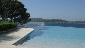 A pool in St tropez, french riviera. Shot of a saltwater pool in a villa in St tropez, on the Riviera Royalty Free Stock Images
