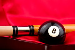 Pool stick with eight ball Royalty Free Stock Image