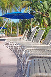 Pool sun loungers Royalty Free Stock Images