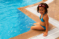 In the pool. Sunny day -the best time to visit the pool royalty free stock photo
