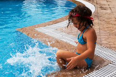 In the pool. Sunny day -the best time to visit the pool royalty free stock photos