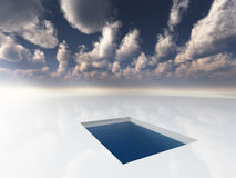The Pool. Surreal image Pool in the white field of clouds Royalty Free Stock Photo
