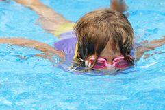 Pool swimmer. A young girl playing in pool stock images