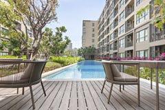 Pool swimming and garden. At Bangkok Stock Photos