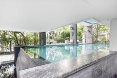 Pool swimming and garden. At Bangkok Royalty Free Stock Photos