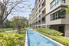 Pool swimming and garden. At Bangkok Stock Photography