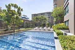 Pool swimming and garden. At Bangkok Royalty Free Stock Photo