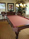 Pool Table. Beautiful pool table in a game room with a bar and two bar stools Royalty Free Stock Image
