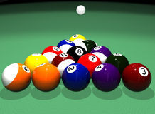 Pool Table. High quality photorealistic 3D rendered billiard (pool) scene with white cue ball in the distance royalty free illustration