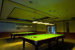 Pool table. Two pool tables appear in front of everyone Stock Image