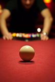 Pool table. Cue ball on a pool table Stock Photography