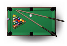 Pool table with all pool tool for playing billiard Stock Images