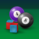 Pool table background  illustration with billiard. Balls and billiard chalk. EPS 10 Stock Images