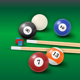 Pool table background illustration with billiard. Pool table background with white and black pool ball, chalk and cue. EPS 10 royalty free illustration