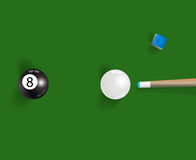 Pool table background with white and black pool ball, chalk and vector illustration