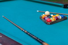 Pool table with ball. Close up stock photos
