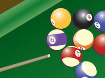 Pool table and balls Royalty Free Stock Photography
