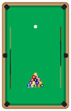 Pool table with balls and cue Royalty Free Stock Images