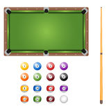 Pool table with balls and cue. Top view. Stock Photo