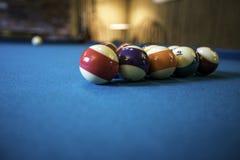 Pool Table. Pool balls set up on a green felt pool table Stock Photos