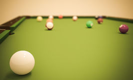 Pool Table with Balls Stock Images
