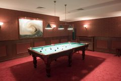 Pool table in a bar Royalty Free Stock Image