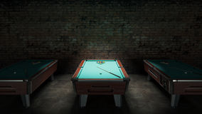 Pool table with brick wall Stock Photography