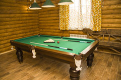 Pool Table in classic rest room Stock Photos