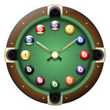 Pool table clock vector vector illustration