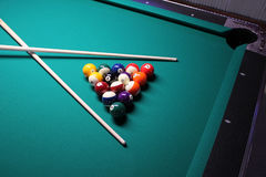Pool Table with Crossed Cues Stock Images