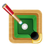 Pool table icon with white ball and cue Royalty Free Stock Photos