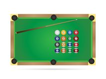 Pool Table Illustration. Illustration of a pool table isolated on a white background Stock Images