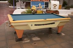 Pool table in Minorca. Minorca, Balearic Islands, Spain - September 08, 2013 : View of a Pool in Minorca Royalty Free Stock Photo