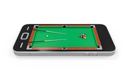 Pool Table in Mobile Phone Royalty Free Stock Images