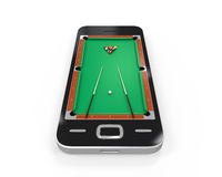 Pool Table in Mobile Phone Royalty Free Stock Photo