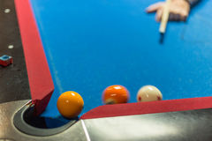 Pool table with motion blur Stock Photo