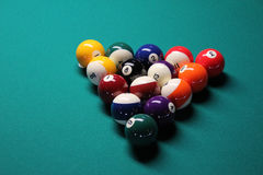 Pool Table, Pool Balls. A game of 8 Ball, racked and ready to go stock images