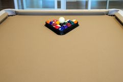 Pool table. Poolroom of an apartment building for retirees in the City of Terrebonne, in the Province of Quebec, Canada Royalty Free Stock Images