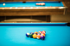 Pool table ready. To be played Royalty Free Stock Image