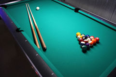 A Pool Table, set-up for a game. A game of 8 Ball, racked and ready to go royalty free stock photos