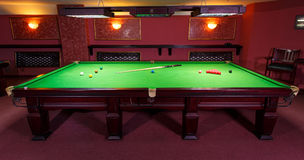 Pool Table, set up for  game Stock Image