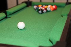 Pool Table Initial Shot to Begin the Game. Pool table shot billiards about to begin, initial shot, breaking the game Royalty Free Stock Image