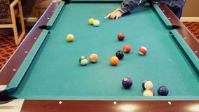 Pool Table Shot Striped Ball Into Corner Pocket stock footage