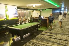 Pool table at Singapore Changi International Airport. Changi Airport, is the primary civilian airport for Singapore, and one of the largest transportation hubs Stock Images