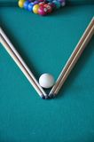 Pool table, sticks and balls Royalty Free Stock Images