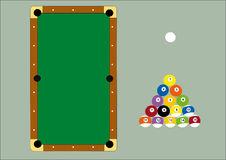 Pool table and triangle balls Stock Photography