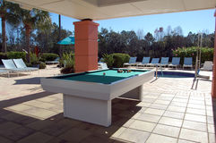 Pool Table at Tropical Resort Stock Images