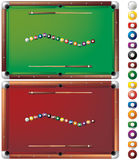 Pool tables. With isolated balls, two color versions, layered and grouped illustration for easy editing Royalty Free Stock Images