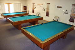 Pool Tables. A pool hall, with tables and cues ready Stock Photos